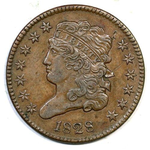 1828 C-1 13 Star Classic Head Half Cent Coin 1/2c