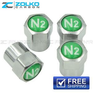 NITROGEN N2 VALVE STEM CAPS  WHEEL TIRE CHROME - US SELLER VE03