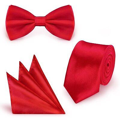 Fliege Einstecktuch Hochzeit Schlips Busniess slim dünn (Dünne Rote Krawatte)