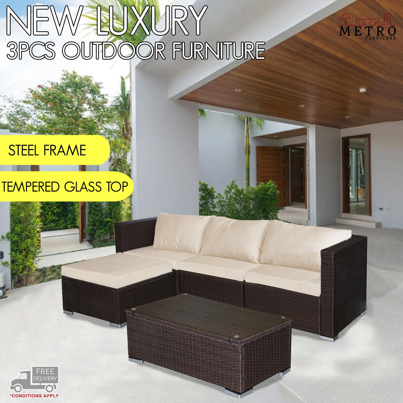 Garden Furniture - 3 Pcs Lounge Outdoor Furniture William Sofa Set Patio,Garden,Outdoor Brown