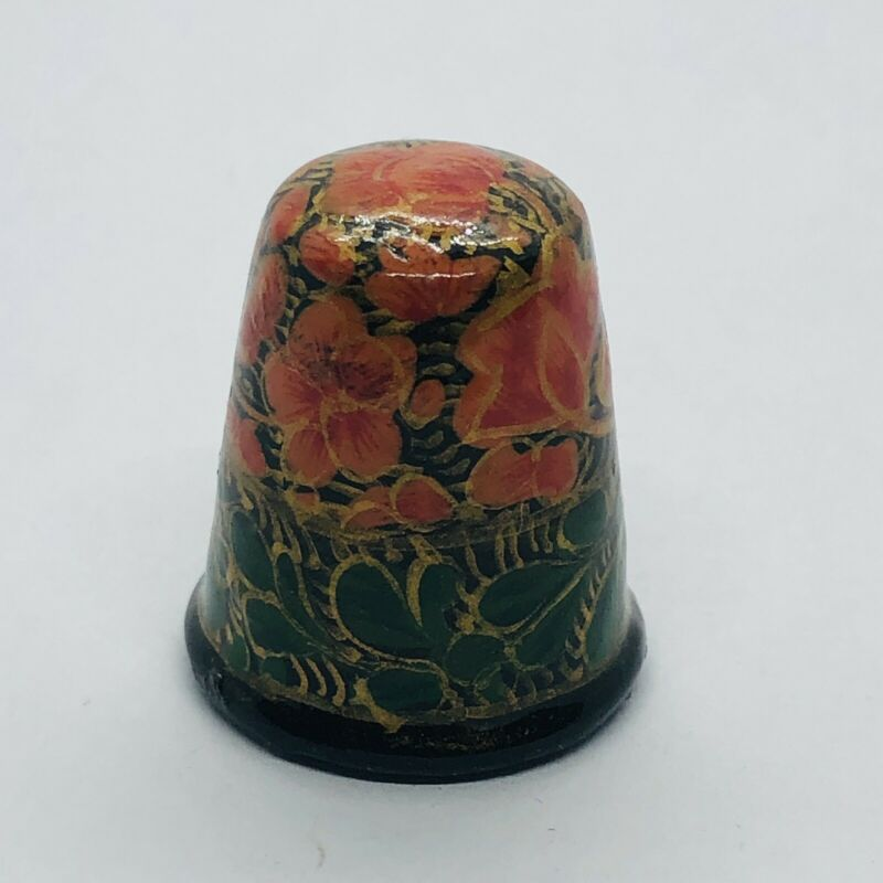 Beautiful Hand Painted Wood Souvenir Wooden Floral Thimble - Signed India