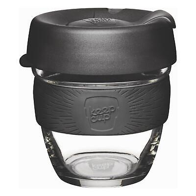 KeepCup Brew Reusuable Glass Coffee Cup Mug with Silicone Band, 227ml 8oz, Black