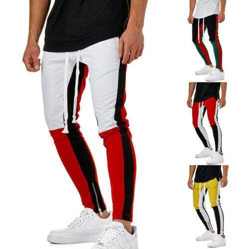 Herren Gym Sport Farbblock Seitlicher Reißverschluss Lange Hosen Trainingsanzug