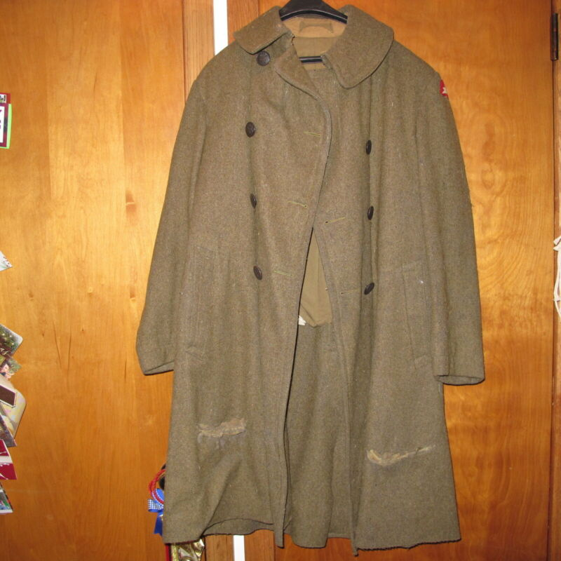 WW1 US Army Wool Double breast Overcoat Heavy 78th Infantry Division 1917 Coat