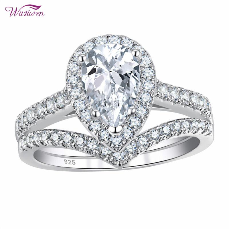 Wuziwen Wedding Rings Engagement Ring Set 3.5ct Pear Aaaa Cz 925 Sterling Silver