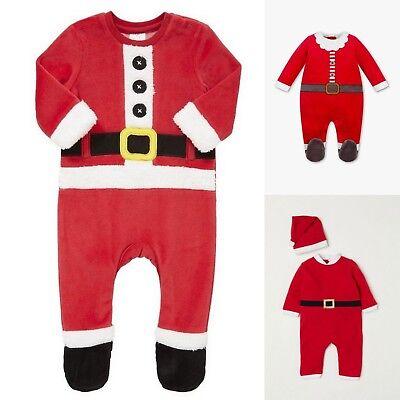 Weihnachten Strampler Nikolaus Weihnachtsmann Kostüm Overall Einteiler Gr 56-92