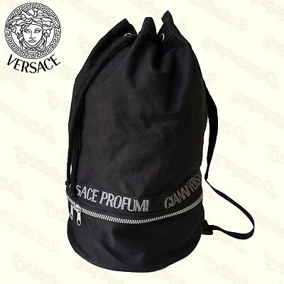 VINTAGE GIANNI VERSACE PROFUMI BLACK LARGE GYM BACKPACK BAG WITH ZIP AND TIES