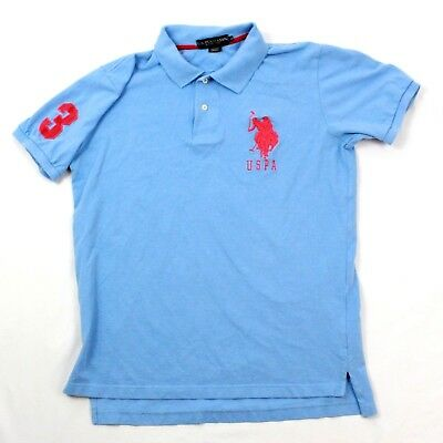 US POLO ASSN Short Sleeve Big Pony Shirt Baby Blue Rugby T-shirt Adult Medium M (Us Polo Baby)