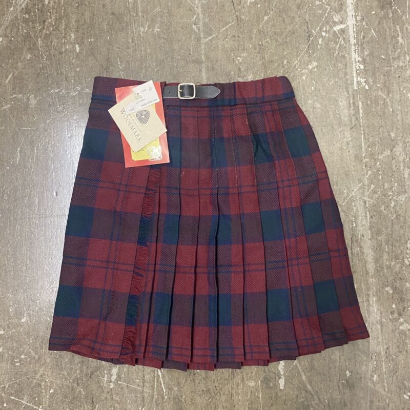 VTG NWT 80s Girls Highland Home Industries Made In Scotland 100% Wool Skirt 5/6