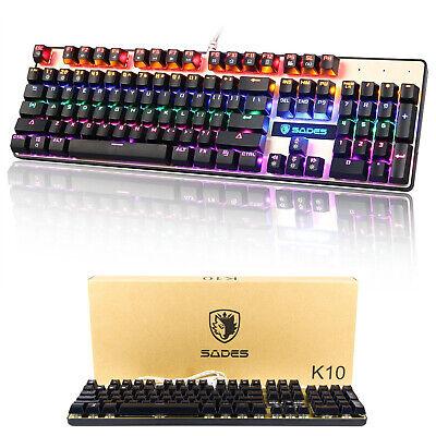 SADES K10 Backlit Gaming Keyboard Wired Mechanical Keyboard