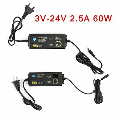 Adjustable Voltage 3-24v 2.5a Power Supply Adapter Acdc Switch W Led Display