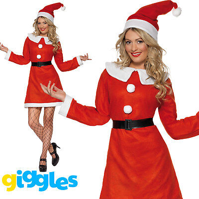 Miss Santa Costume Womens Mrs Claus Father Christmas Xmas Fancy Dress Outfit - Womans Santa Costume