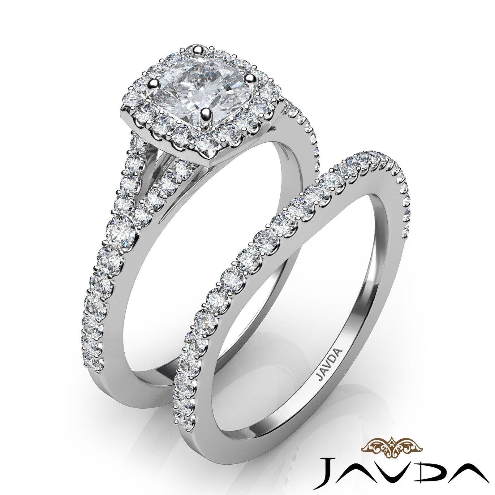 1.5ctw U Cut Pave Halo Bridal Cushion Diamond Engagement Ring GIA F-VS2 W Gold 2