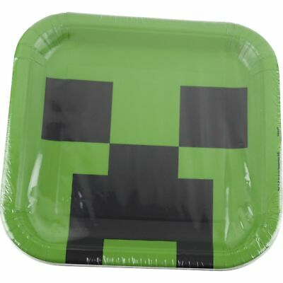 Minecraft Birthday Party Supplies 8 Large Cake Food Plates](Minecraft Cake Supplies)