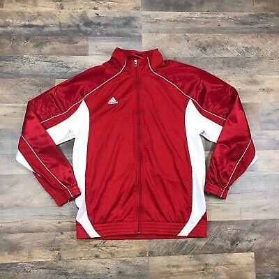 Adidas Track Jacket Men's Size Large Full Zip 3 Stripes Red Vintage Full Zip Up