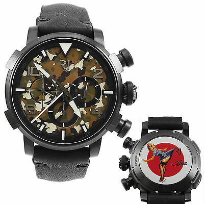Romain Jerome Pinup DNA Black WWII Ava Blue Chrono Auto Men Watch RJ.P.CH.002.01