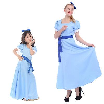 Peter Pan Wendy Darling Cosplay Costume Women Girl Kid Fancy Dress Halloween