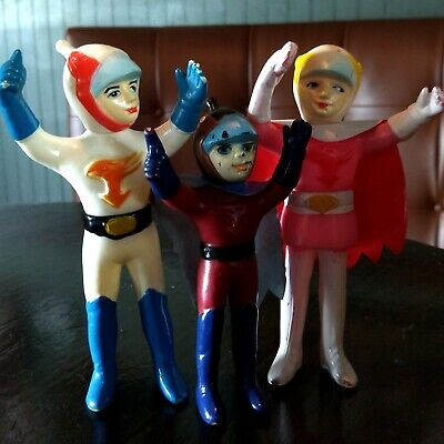 Japanese Mini Vinyl - Vtg Sofubi Gatchaman Ken Jun Joe Mini Figure Lot Set Vinyl Japanese Toy Japan