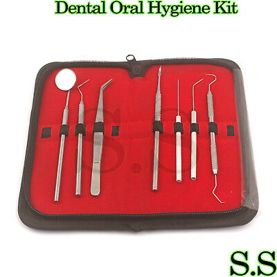 Dental Scaler Pick Stainless Steel Tools With Inspection Mirror Set 7 Pcs
