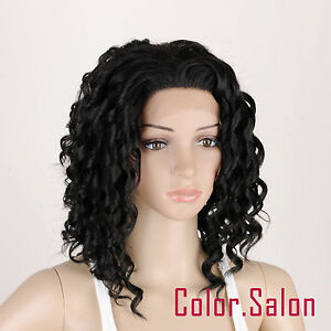 HAND-TIED-Synthetic-Hair-LACE-FRONT-FULL-WIGS-GLUELESS-Off-Black-91-1B