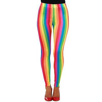 Ladies Rainbow Striped Neon Leggings Clown Gay Pride Parade Carnival Accessory