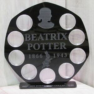 black 50p 9 coins display Stand frame case Beatrix potter peter mirror finish