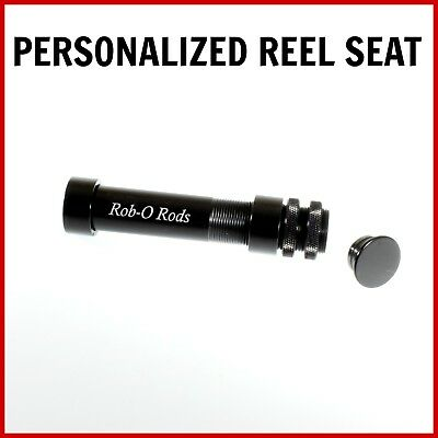 FLY ROD REEL SEAT -PERSONALIZED- up locking BLACK with YOUR LASER ETCHED TEXT