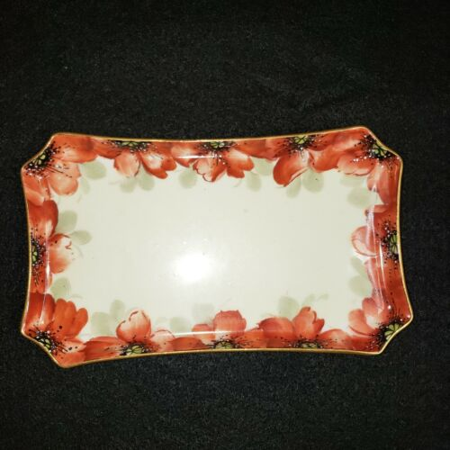 W.G Limoges France Tray signed Freiberg  Poppies