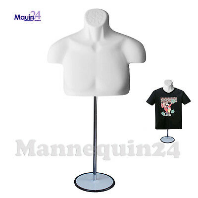 New Male Torso Mannequin Form - White W Metal Base