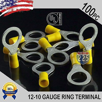 100 Pack 12-10 Gauge 12 Stud Insulated Vinyl Ring Terminals Tin Copper Core Us