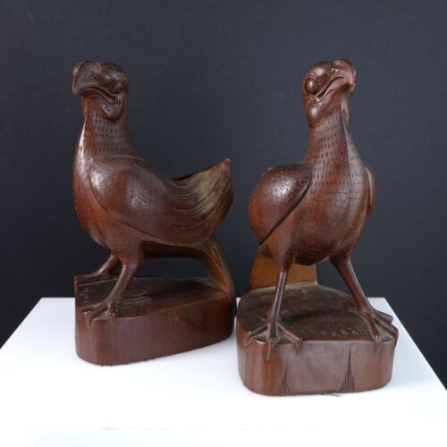 c1940 Balinese Signed High quality carved wood birds Ngurah