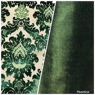 SWATCH Novelty Italian Designer Burnout Damask Velvet Upholstery Fabric - Green (Novelty Upholstery Fabric)