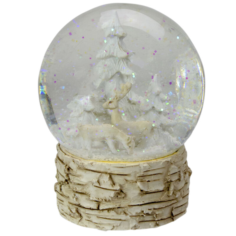 "5"" Beige and White Winter Wonderland Christmas Snow Globe"
