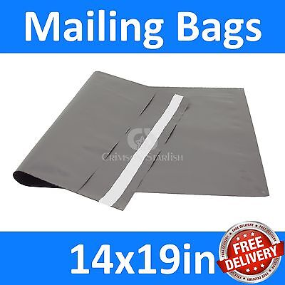 14x19in x 100 Grey Mailing Bags, Strong Poly Postal Postage, Inc VAT, Free P&P