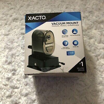 X-acto Vacuum Mount Manual Pencil Sharpener Black New In Box Portable Lightweigh