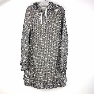 Fabletics Yukon Sweatshirt Winter Dress Hooded Pocket Black White Women's L
