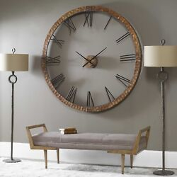 NEW STATELY 60 HAMMERED COPPER SHEETING GRAY WASH ROUND WALL CLOCK  BIG NUMBERS