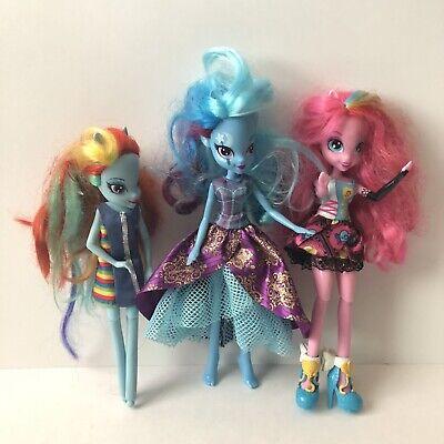 """My Little Pony Lot of 3 Equestria Girls 9"""" Doll Rainbow Dash Pinkie Pie Trixie"""