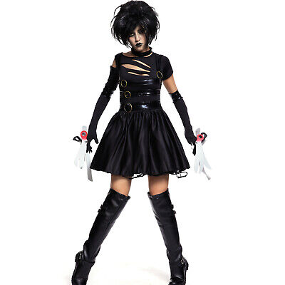 Miss Scissorhands Halloween Costume (Ladies Adult Miss Edward Scissorhands Halloween Fancy Dress Costume)