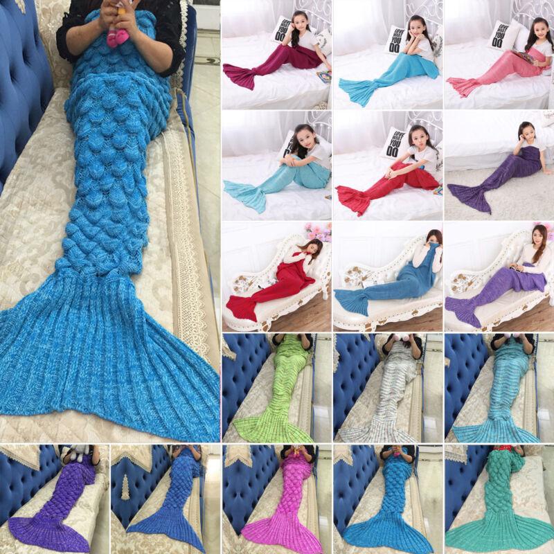 Meerjungfrau Schwanz Decke Handgefertigte Strick Gehäkelte Quilt Lapghan Teppich
