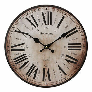 Large WALL CLOCK Vintage Style Antique Shabby Chic Distressed W9769