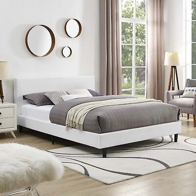 Used, Full Size Upholstered Fabric Platform Bed Frame With Wood Slats in White for sale  Hightstown