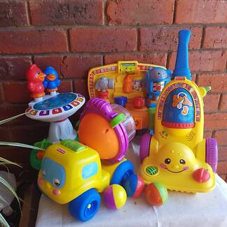 Fisher Price Musical Vacuum, Tool Bench & Cement Truck $15 each