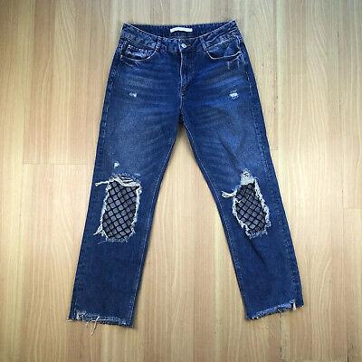 ZARA Trafaluc Denimwear Distressed Ripped Blue Jeans Women's Sz 6