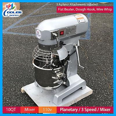 10 Qt Planetary Mixer Heavy Duty Commercial 110v  3 Attachments Cooler Depot