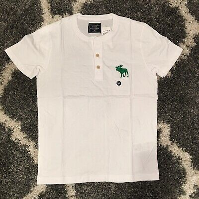 NWT Abercrombie & Fitch AF Logo Print Cream Men's Size XS