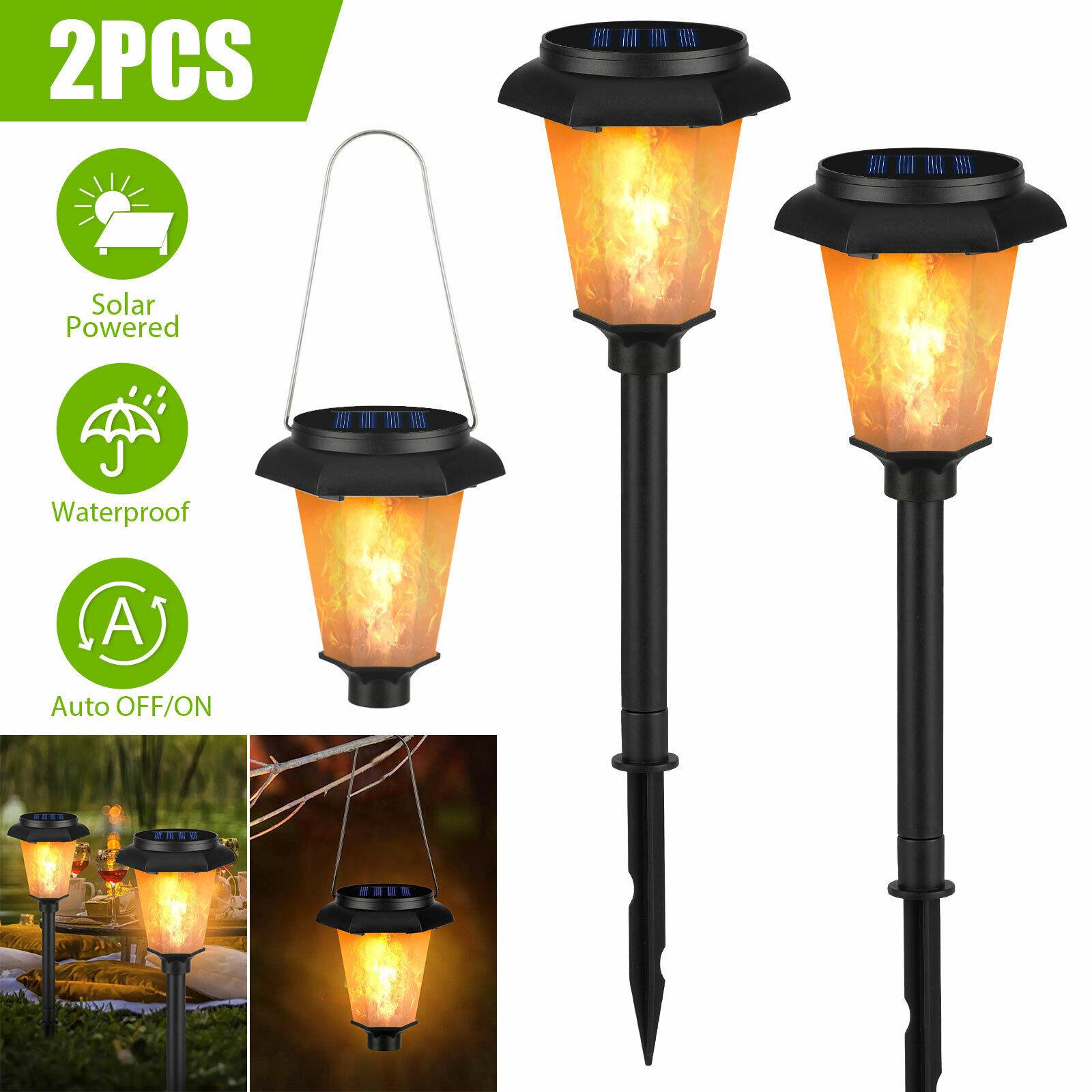 12 LED Outdoor Solar Flame Light Torch Dancing Flickering Lamp Garden Waterproof