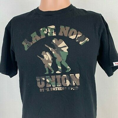 Aape By Bape Now Union Camo Soldier T-Shirt A Bathing Ape Black Size Small  for sale  Shipping to India