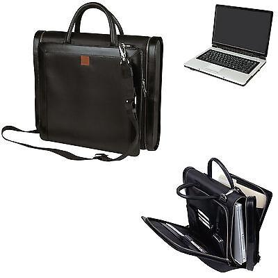 Compu-Briefcase Expandable Notebook Computer Leather Trim Laptop Bag Men/Women