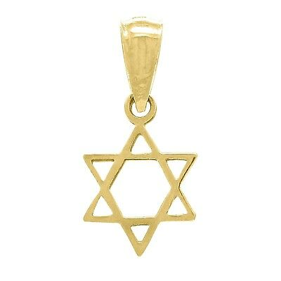14k Yellow Gold Solid Small Jewish Star of David Charm Pendant 0.4 -